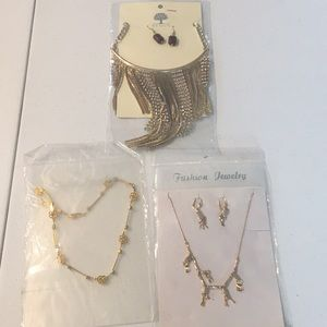 Gold color necklace and earring sets bundle of 3